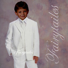 Brand New boy formal wedding Tuxedo suit set White 4