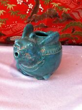 Antique Asian Clay Saki Pot Green Rabbit