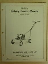 "Western Tool 18"" Rotary Power Mower Instrutions, Parts Manual Jk-50-B"