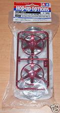 Tamiya 54551 Red Plated 2-Piece 6-Spoke Wheels (26mm Width, Offset +2), NIP
