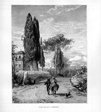 Stampa antica strada fra CAVI e GENAZZANO campagna di Roma 1877 Old print Rome