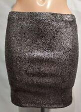 Vila Silver Sirt Metallic Stretch Mini Tube Bodycon Pencil Size M 8 10 12
