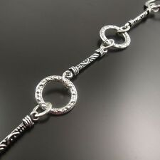 90cm Antique Silver Alloy Engraved Ring Knot Jewelry Making Chain Necklace 32444