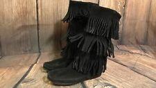 Minnetonka Women 7 Black Suede Leather Triple 3 Layer Fringe Moccasin Boot 1639