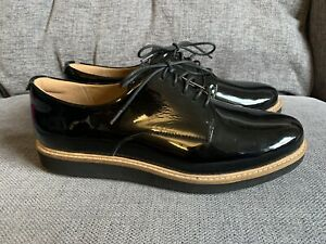 Clarks Ladies Shoes 7 Loafers Flat Smart Casual Patent Lace Up Artisan Creeper