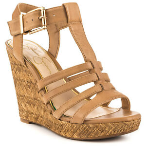 Jessica Simpson Jenaa Platform Wedge Sandals, Size 9.5 Buff Ruby Tu JS-JENNA