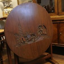 Antique Chinese Hand Carved Walnut Wood Table Relief Art Tower Junk Ship Kiri