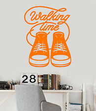 Vinyl Wall Decal Sneakers Walking Time Words Quote Stickers (2377ig)