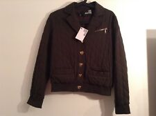 100 Auth Love Moschino Ladies Khaki Green Quilted Jacket With Logo. UK 8