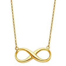 Genuine Real Solid 14k Yellow Gold Infinity Pendant Necklace 17+1 Inches Chain