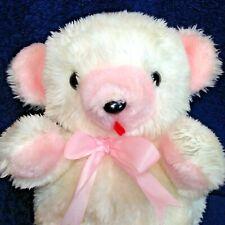 Commonwealth Vintage Baby Polar Bear Plush Pink White RARE Teddy Stuffed Animal