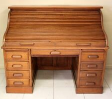 ANTIQUE OAK ROLL TOP DESK CA  1920 TWIN PEDESTAL COMPLETE CUTLER S-TYPE TAMBOUR