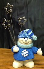 Adorable Snowman with Stars Photo Card Note Holder