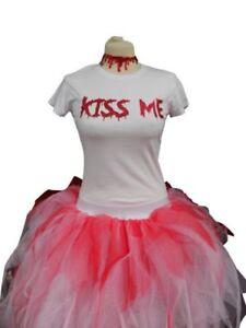 PURGE TUTU SKIRT BLOOD NECKLACE T SHIRT HALLOWEEN FANCY DRESS CANDY GIRL PINK