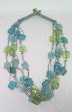 Multi Strand Blue Tone Square Glass Bead Necklace