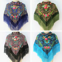 Women Square Floral Tassel Fringed Scarf Shawl Cotton Neck Wrap Bohemia Pashmina