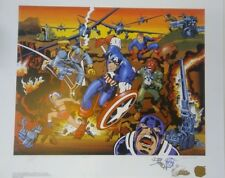 CAPTAIN AMERICA 50th SDCC PP 1/5 SIGNED JACK KIRBY JOE SIMON STAN LEE COA REMARK Comic Art