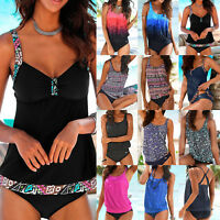 Plus Size Women Sporty Tankini Set Push Up Bikini Swimsuit Swimwear Bathing Suit