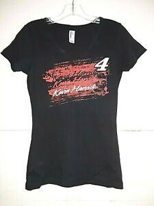 Kevin Harvick # 4 Nascar Ladies V-neck Black T-shirt, Medium
