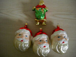 THREE SANTA CLAUS HEAD CHRISTMAS ORNAMENTS W/GLITTER, PLUS FOURTH ORNAMENT