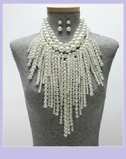 Chunky Long Multi Layer Row Big Pearl Bead Beaded Necklace Cream Statement Bib