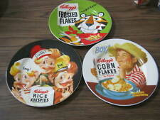 3 Vintage Kellogg's Plates, Frosted Flakes, Corn Flakes, Rice Krispies