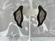 Large Vintage Celluloid Earrings Black with Mother of Pearl Pierced Earrings