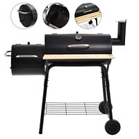 BBQ Charcoal Grill Backyard Barbecue Cooking Outdoor Patio Meat Smoker w/ Wheels