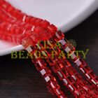 New 10pcs 8mm Cube Square Faceted Crystal Glass Loose Spacer Beads Red