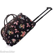 Ladies Travel Bags Holdall Hand Luggage Women's Weekend Handbag Wheeled Trolley Black Butterfly S4