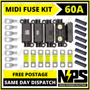 60A MIDI FUSE KIT 4 ANS Holder 7 x 60 AMP Fuses to suit Redarc BCDC Dual Battery