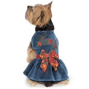 HOLLY DAYS Velvet Noel Dog Dress Deep Blue Festive Details Huge Plaid Bow Puppy