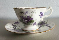 HAMMERSLEY  VIOLETS Small Footed Tea Cup Saucer HAND-PAINTED Demitasse Antique