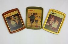 Lot of 3 Vintage Mid Century Norman Rockwell Saturday Evening Post Tin Trays