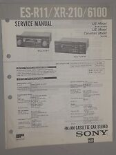 Sony AM-FM Stereo Cassette Player ES-R11 XR-210 XR-6100 OEM Service Manual