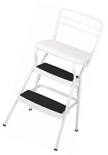 Cosco Retro Counter Chair/Step Stool With Lift Up Seat, White