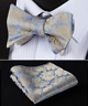 PreTied Premium Blue Paisley Bow Tie Silk Adjustable Floral Gold & Hanky Set 617