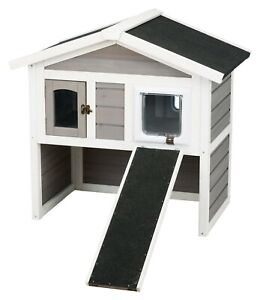 Trixie Pet Products, 2-Story Cottage ,Outdoor Cat House ,Gray, 30-in