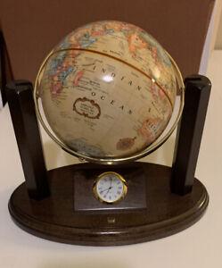 "Replogle World Classic 4.5"" Globe & Clock on Wooden Stand"