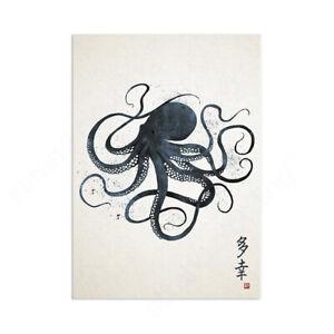 Japanese Octopus Calligraphy Wall Art Print Poster Gyotaku Tattoo Kanji Ukiyo-e