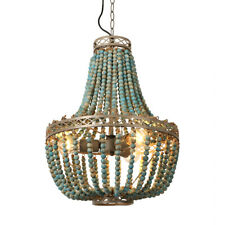 Blue Rustic Round Wooden Beads chandelier 3 Lights Ceiling Fixture Pendant Lamp