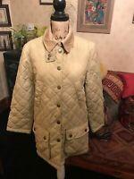 Ladies Cream Beige Diamond Quilted Padded Stylish Country Jacket UK Size 12