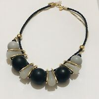 VINTAGE Retro Style Chunky M&S Black White Beaded Statement Gold Tone Necklace