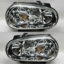 Volkswagen Golf Cabrio 99-04 MK4 Chrome Glass Front Headlights Pair Set RH LH