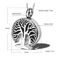 Urn Halskette für Aschen Baum des Lebens Feuerbestattung Schmuck Andenken zONwl