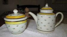 Yorkshire Creamware, Circa 1790 Teapot & Sugar Bowl /lid