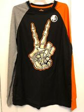 NEW BOYS Happy Halloween Hand GLOW S Black LONG Sleeve T-shirt  Size XXL (18)