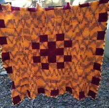 "Handmade Wool Blanket 51"" X 53"" Throw Retro Orange Wine Red Geometric Scalloped"