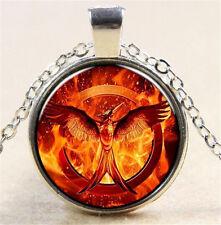 Vintage Phoenix Cabochon Tibetan silver Glass Chain Pendant Necklace NW42