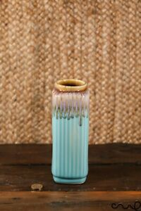 Handmade Ceramic Rectangle Decorative Flower Vase Turquoise Square Glossy Gift